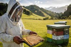Beekeeper at work in New Zealand